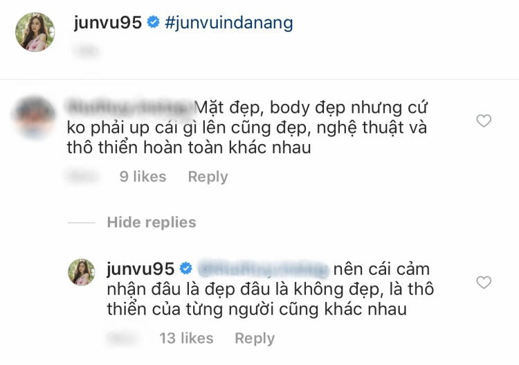 Jun Vũ đáp trả ý kiến tiêu cực.