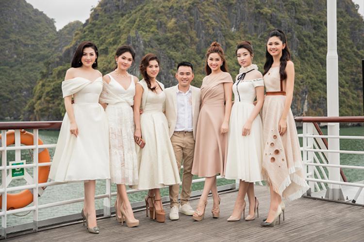 """Cùng trong một tấm ảnh mà các người đẹp Việt đều """"đồng lòng"""" chưng diện váy xòe, cho thấy sự yêu thích đối với item này hoàn toàn không nhỏ."""