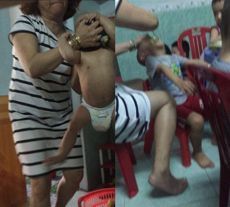 Hình ảnh bà Hồng bạo hành trẻ.