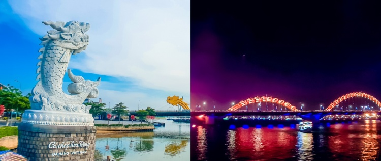 Tượng Cá Chép Hóa Rồng và Cầu Rồng tại Đà Nẵng tại hai thời điểm 6 giờ sáng và 9 giờ tối được Đinh Nam chia sẻ trên trang mạng xã hội. Phần ảnh chụp ban ngày dưới ánh nắng chói chang mùa hè vẫn được tái hiện rõ nét mà không bị cháy sáng.