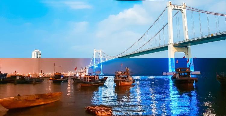 Trong khi đó, Hồ Vi lại khá bất ngờ trước vẻ đẹp bất chấp ngày đêm tại nơi mình sinh ra, nơi quá đỗi quen thuộc tưởng chừng như không còn đặc sắc. Ảnh được chụp tại cầu Thuận Phước, Đà Nẵng.