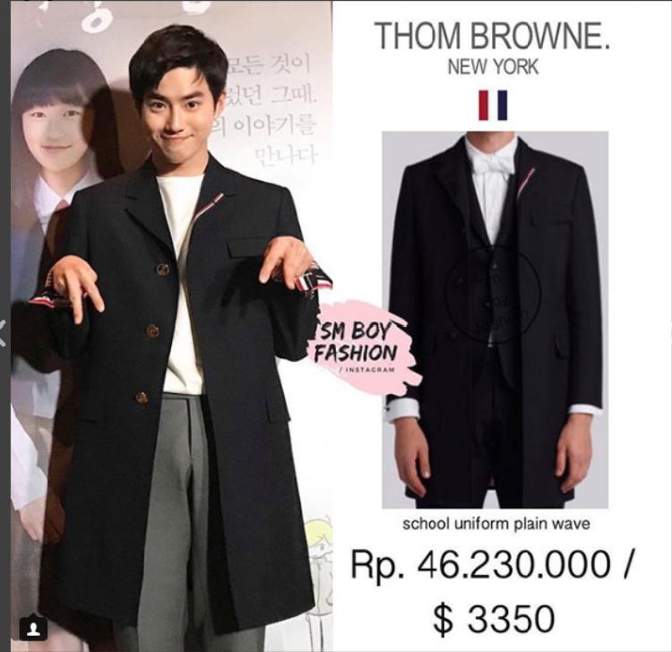 Suho giản dị với tóc đen. Nhưng chiếc áo anh chàng đang mặc có giá gần 77 triệu VNĐ thì không hề đơn giản.