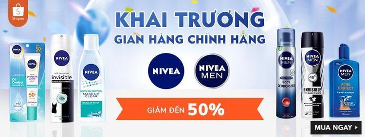 NIVEA khuyến mãi đến 50% nhân dịp khai trương cửa hàng chính hãng trên Shopee.