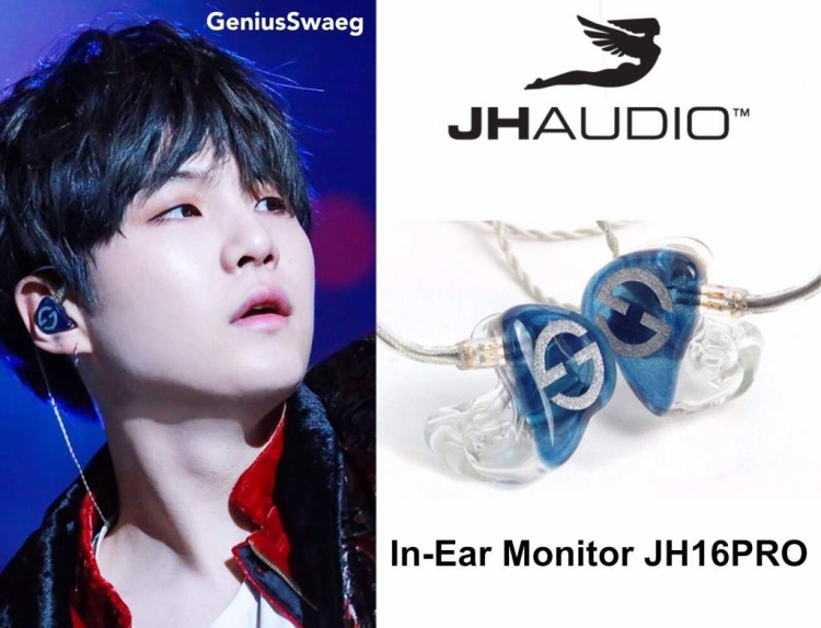 Suga trong khi đó lại lựa chọn thương hiệu JH Audio cùng dòng tai nghe JH16Pro. Dòng tai nghe này đã ra mắt từ năm 2010 và khi đó có giá trên dưới 1.150 USD (chưa kể chi phí thiết kế). Nếu để ý bạn có thể thấy biểu tượng in trên tai nghe của Suga là hai chữ S và G lồng vào nhau.