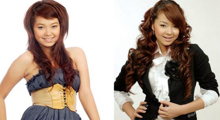Lúc bắt đầu sự nghiệp, hình ảnh Minh Hằng gắn liền với mái tóc xoăn bồng bềnh đi cùng các trang phục nữ tính. Phong cách thời trang trông trẻ trung nhưng cần cải thiện nhiều.