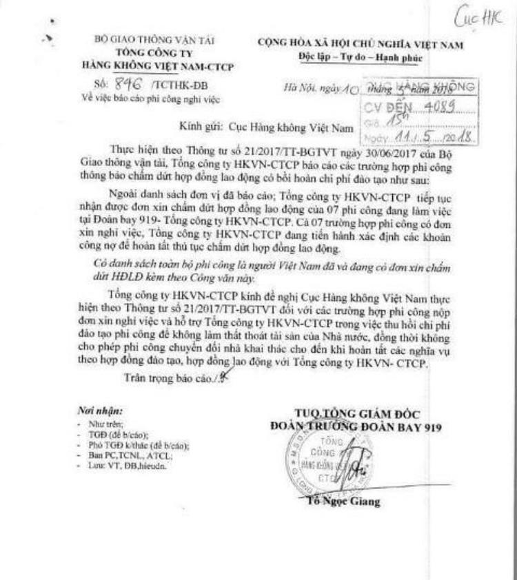 Tổng Công ty hàng không Việt Nam báo cáo việc phi công nghỉ việc và đề nghị Cục Hàng không Việt Nam hỗ trợ thu hồi chi phí đào tạo phi công.