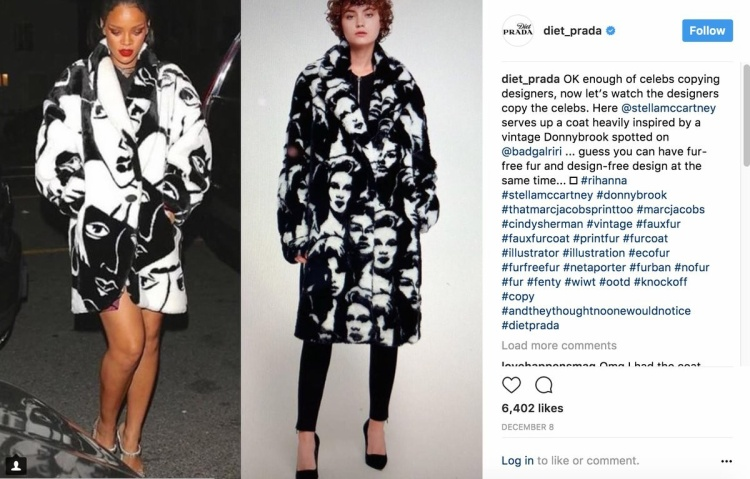 Chiếc áo khoác của Stella McCartney (bên phải) nhận nhiều lời chỉ trích vì quá giống của Rihanna (bên trái).