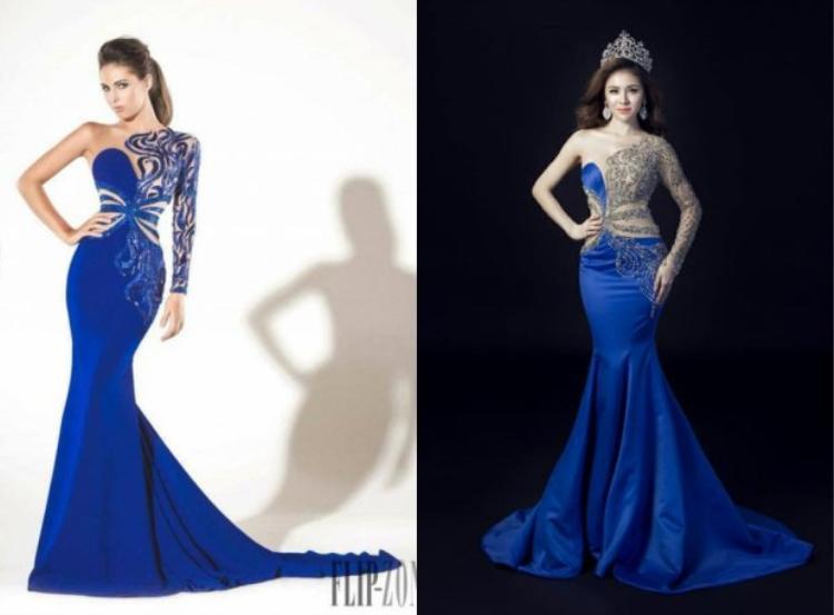 """Chiếc váy mà Thư Dung đem sang """"đấu trường"""" nhan sắc quốc tế hóa ra là một thiết kế giống gần 100% với sản phẩm của một thương hiệu nước ngoài."""