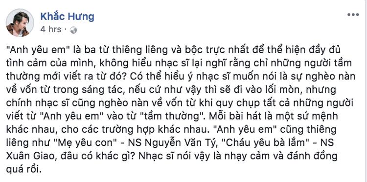 Dòng chia sẻ của nhạc sĩ Khắc Hưng…