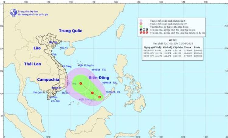 Hướng di chuyển của áp thấp nhiệt đới. Ảnh:Trung tâm Dự báo Khí tượng Thủy văn Quốc gia.