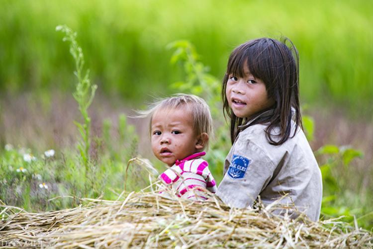 Chị trông em ngồi bên bờ ruộng tại một huyện vùng núi cao thuộc tỉnh Lai Châu.