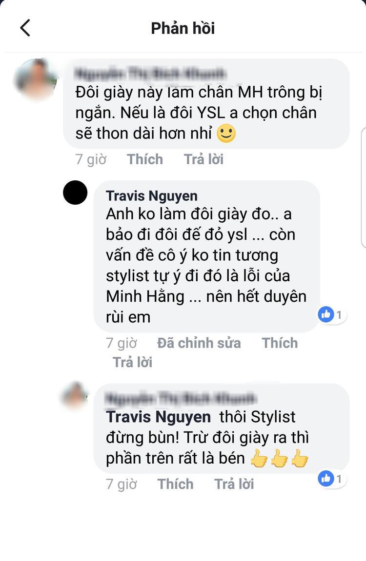 """Trong một bình luận của khán giả, Travis Nguyễn cũng bày tỏ sự không hài lòng với quyết định thay đổi trang phục, phụ kiện này của ca sĩ. Anh nói, set đồ không đẹp là do sự thiếu tin tưởng của Minh Hằng vào stylist, đồng thời tuyên bố cả hai """"hết duyên"""" rồi."""