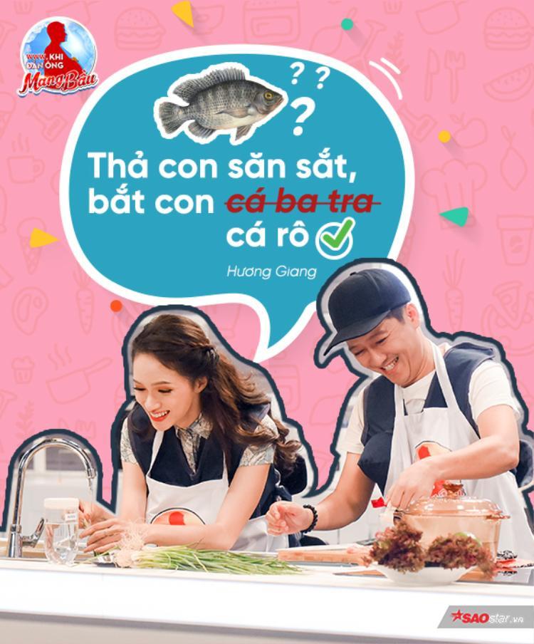 """Một là cá tra, hai là cá ba sa, khéo léo thế nào mà Hương Giang lại phát minh ra loại cá mới thế này. Tuy nhiên, ít ai biết """"Thả con săn sắt, bắt con cá rô"""" mới là câu tục ngữ chính xác nhất nhé!"""