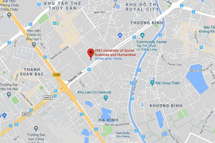 Đại học Khoa học Xã hội và Nhân văn (chấm đỏ) nằm trên đường Nguyễn Trãi - trục trung tâm của thủ đô.