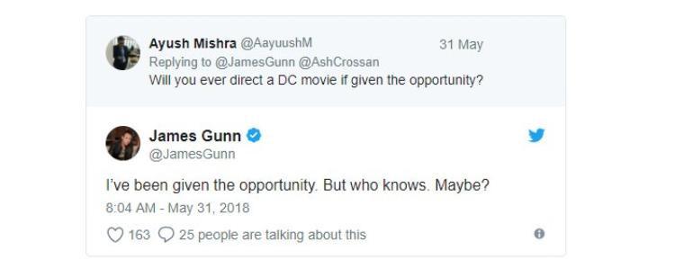 Phần đối đáp trên Twitter của James Gunn.