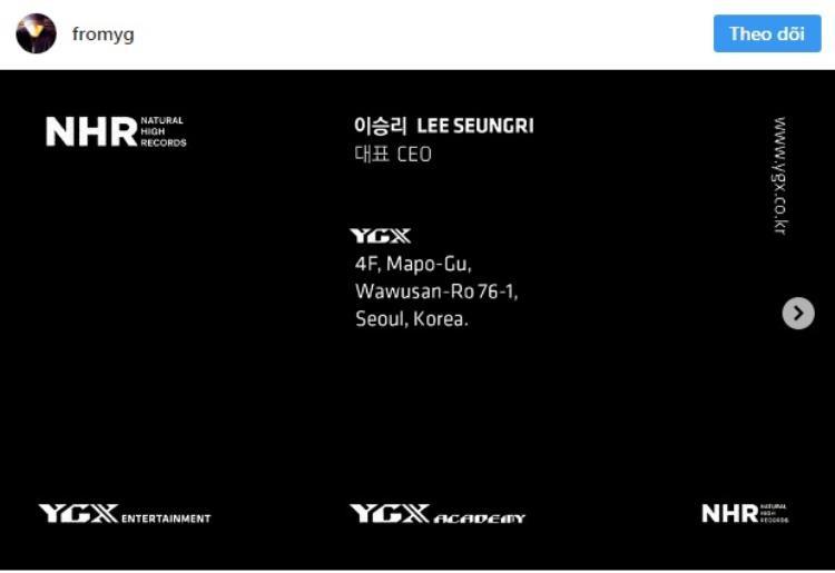 Bức danh thiếp Yang Hyun Suk đăng tải trên trang Instagram.