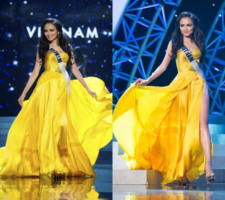 Việt Nam từng có Hoa hậu Diễm Hương cũng chọn sắc vàng trong phần thi trang phục dạ hội ở kỳ Miss Universe 2012. Tuy không có làn da nâu như các mỹ nhân khác nhưng xem ra Diễm Hương vẫn khá phù hợp với trang phục tông màu nổi như thế này.