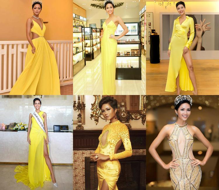 """Việc có nhiều mỹ nhân mặc đầm vàng đạt thành tích cao ở Miss Universe cũng như bản thân H'Hen Niê khá phù hợp với màu sắc này. Phải chăng mỹ nhân Đắk Lắk nên học hỏi những mỹ nhân đi trước để có thể """"làm nên chuyện"""" trong chuyến xuất ngoại vào cuối năm nay."""