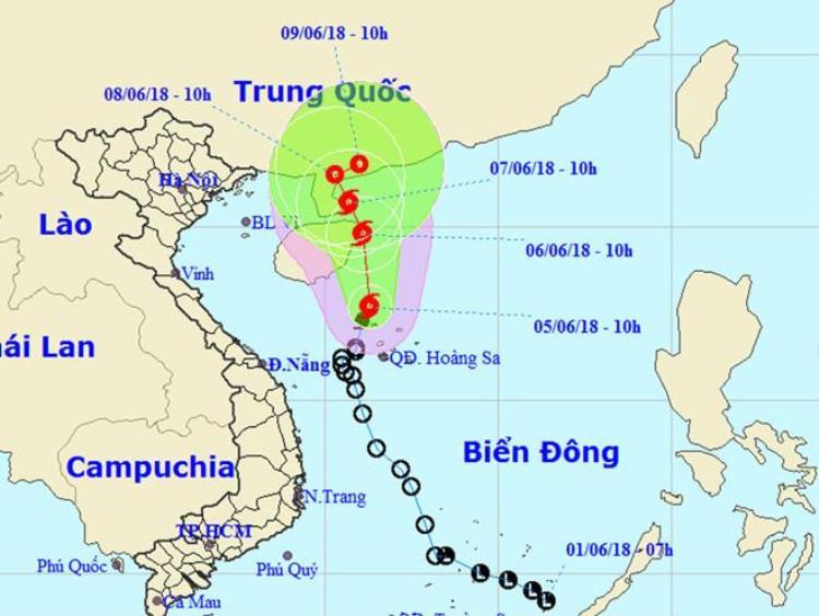 Dự báo đường đi bão số 2 theo bản tin lúc 11h ngày 5/6. Ảnh: NCHMF.
