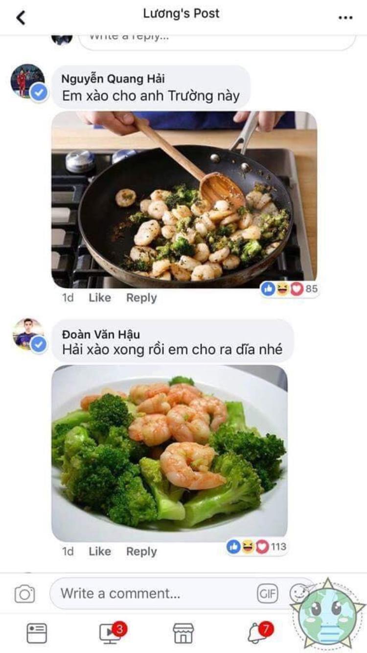 Quang Hải và Văn Hậu nhanh trí dùng súp lơ xào tôm.