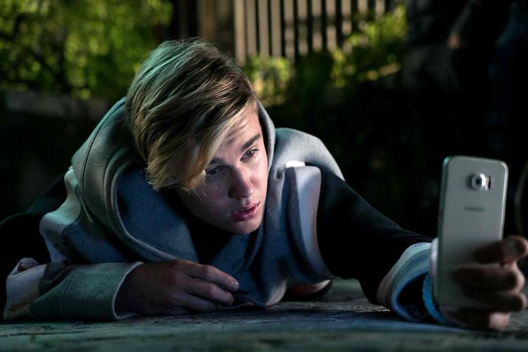 """Justin Bieber trong cảnh quay của """"Zoolander 2"""" khi anh đóng vai chính mình."""