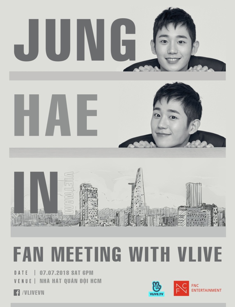 Ngoài fanmeeting ngày 7/7, các fan còn có cơ hội gặp lại Jung Hae In tại đêm nhạc V HEARTBEAT số đầu tiên, diễn ra vào ngày 18h ngày 8/7 tại Nhà hát Hòa bình (TP.HCM).