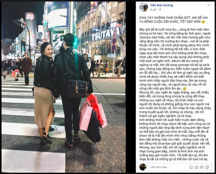 Văn Mai Hương từng chia sẻ tâm thư khá dài sau khi kết thúc chuyện tình với thanh tra xây dựng 24 tuổi.