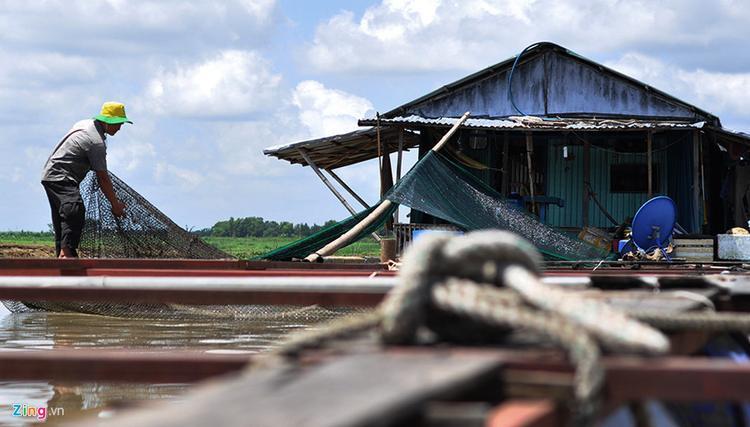"""Anh Trần Văn Thiện thu dọn lưới ở các bè nuôi để lên bờ kiếm việc làm. Ngư dân này cho biết tai họa cá chết đã làm gia đình anh trở nên kiệt quệ. """"Tôi vừa nuôi vừa nhập cá của các hộ dân về bán lại cho thương lái. Vài ngày trước khi xảy ra 'thảm họa', tôi mua mấy tấn cá của người dân về bè nhốt, để chờ bán lại cho thương lái kiếm lời. Không ngờ sau đó chúng chết sạch, thiệt hại mấy trăm triệu đồng"""", ngư dân Thiện nói."""