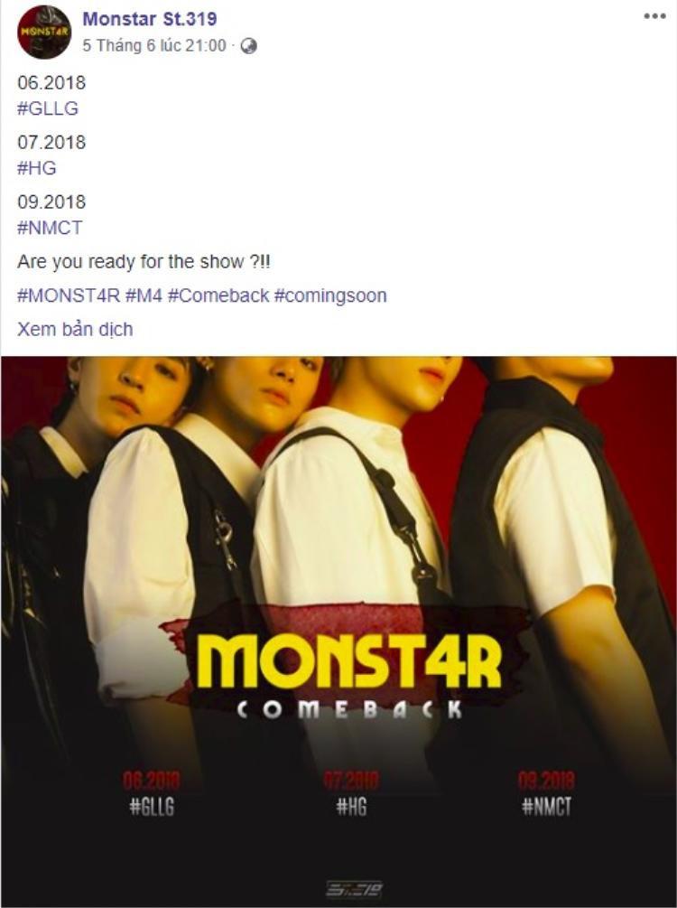 """Bên cạnh đó, MONSTAR cũng bật mí những ca khúc sẽ ra mắt sắp tới đây. Việc còn lại của các fan là """"đếm ngày gần anh"""" thôi nhỉ."""