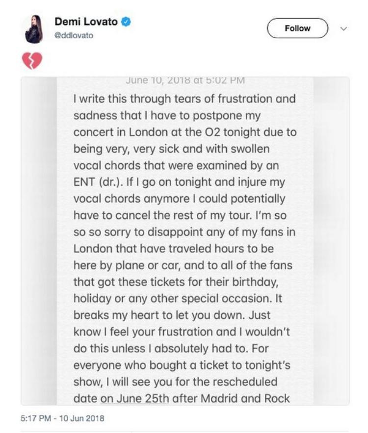 Sức khỏe chạm đáy, Demi Lovato buộc phải xin lỗi fan và hủy show 45 phút trước giờ G