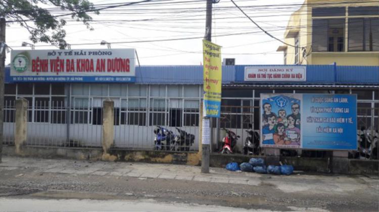 Bệnh viện đa khoa An Dương, nơi xảy ra vụ việc.
