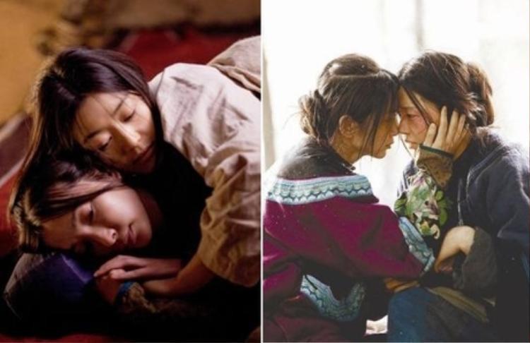 """Những cảnh âu yếm giữa Lý Băng Băng và Jeon Ji Hyun trong vai Tuyết Hoa và Bách Huệ của """"Tuyết hoa bí phiến"""" cũng dính nghi vấn đồng tính."""