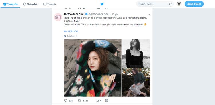 Twitter của SM Town đăng tải tin tức về Krystal.