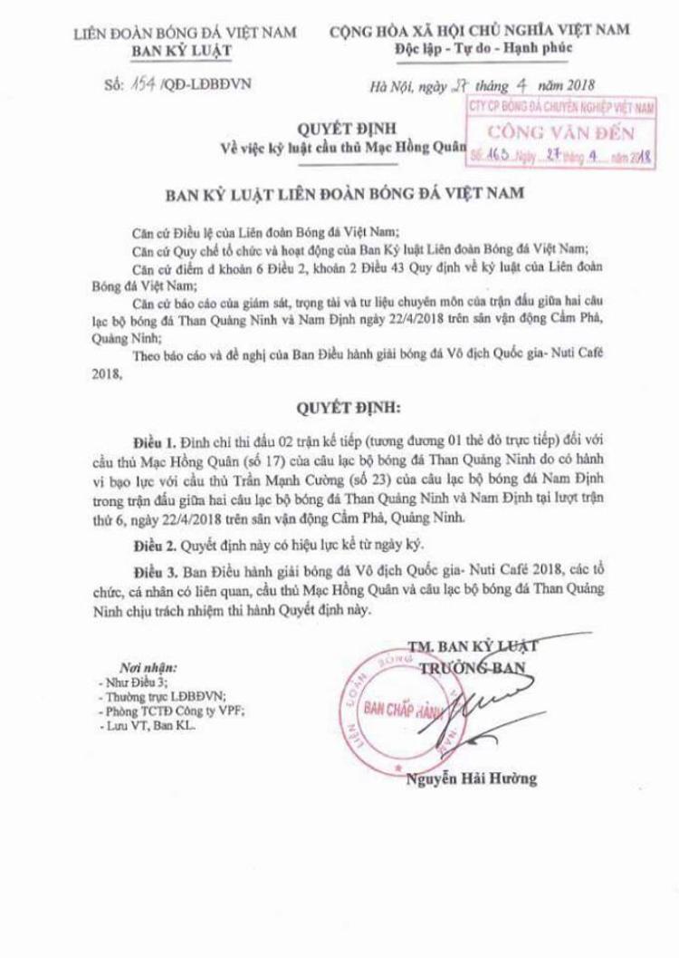 Quyết định kỷ luật dành cho Mạc Hồng Quân về án nguội sau trận đấu với Nam Định.