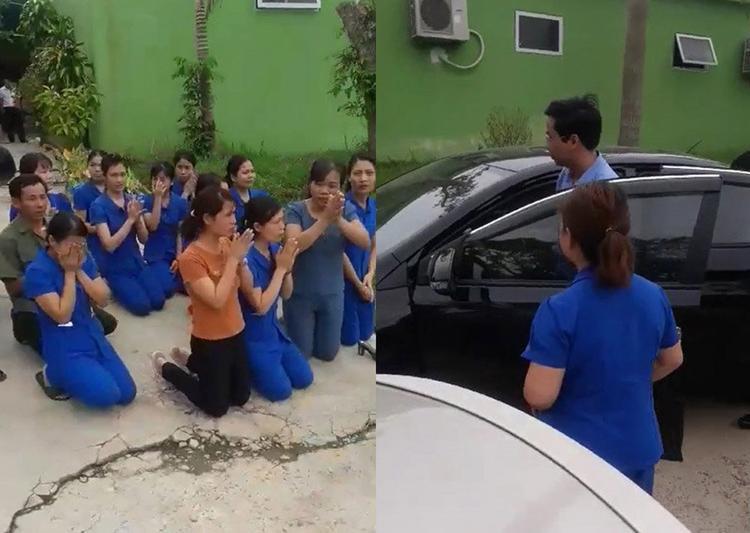 Các cô giáo quỳ khóc (Ảnh chụp clip)