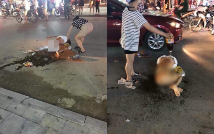 Hình ảnh cô gái bị đổ muối ớt, nước mắm lên người.