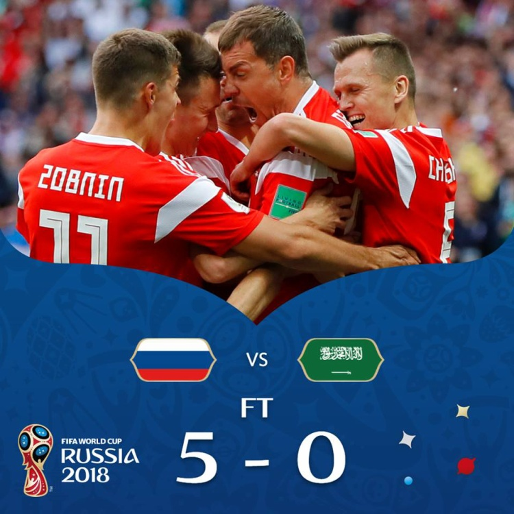 Nga đi vào lịch sử World Cup với chiến thắng 5-0 trướcSaudi Arabia. Ảnh: FIFA