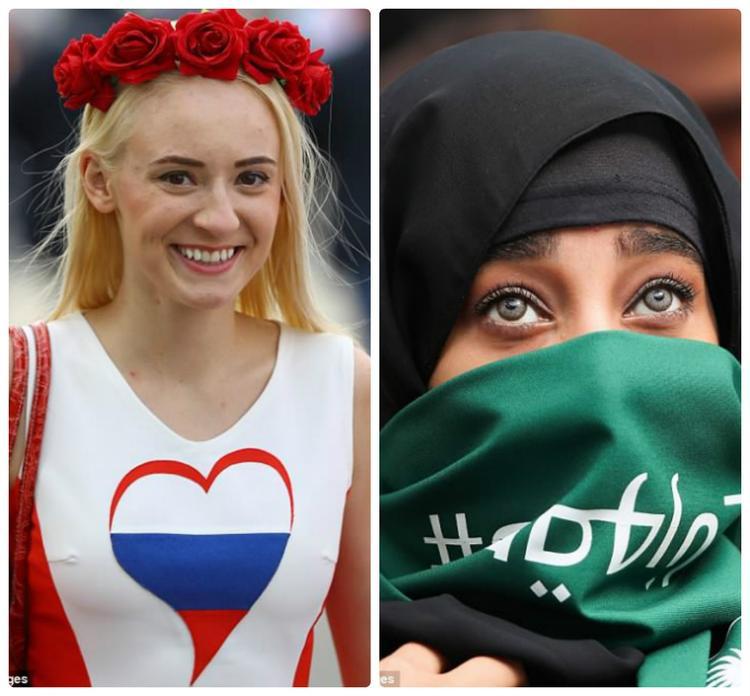 Sự tương phản trong trang phục của CĐV hai nước góp mặt trong trận đấu đầu tiên của World Cup 2018. Ảnh: Getty