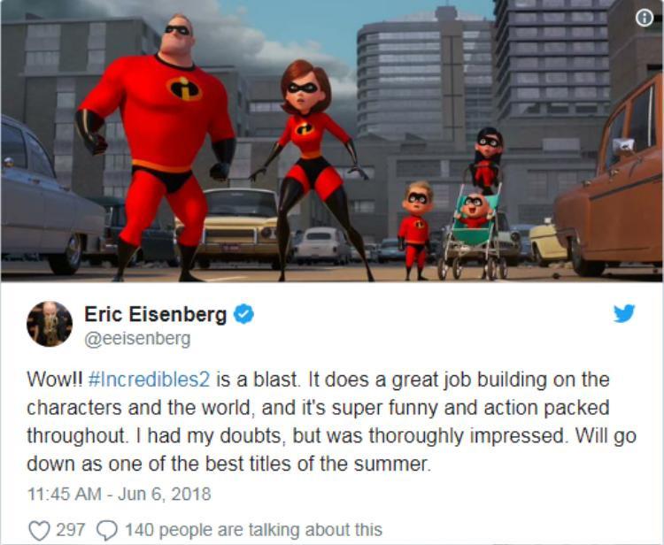 Incredibles 2 nhận được nhiều phản hồi tích cực, thậm chí còn được đánh giá là xuất sắc hơn cả phần một
