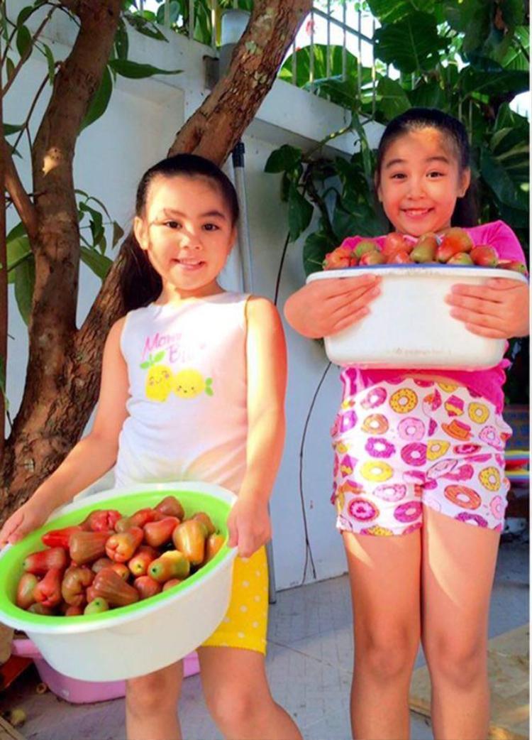 Hai chị em thích thú với thành quả thu được từ khu vườn.