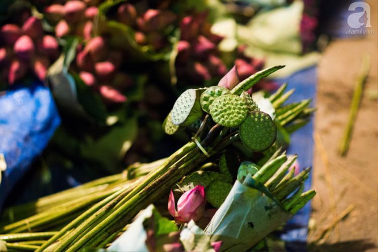 Ngoài hoa sen ra, tại chợ còn bán cả đài sen, lá sen, đến những chiếc lạt tre để buộc sen
