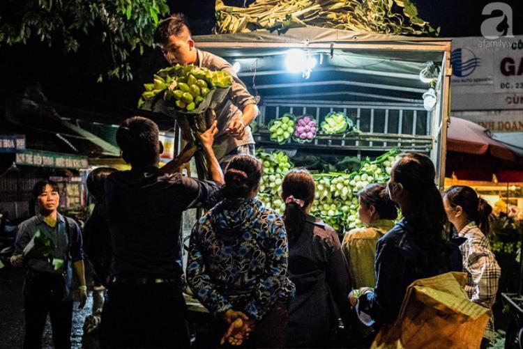 Những xe chở sen lớn nhỏ được tập kết tại chợ hoa lúc 2h sáng