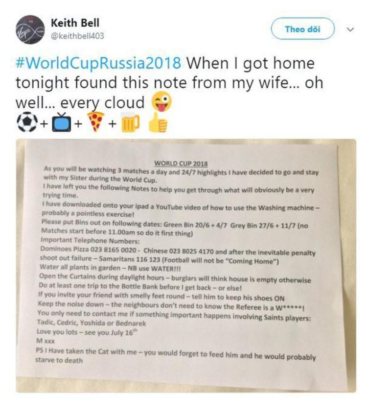 Cô vợ trong mơ mùa World Cup: Mang mèo dọn sang nhà chị ở, dặn chồng cách sống sót vô cùng chi tiết!