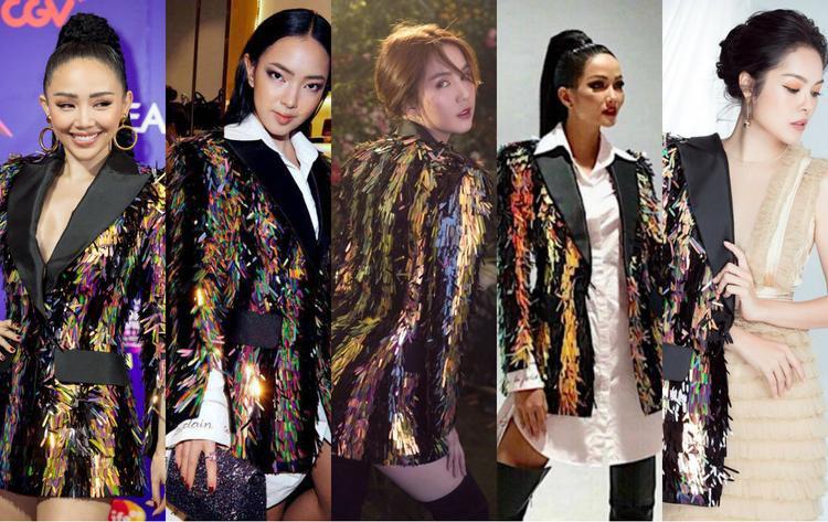 """4. Chiếc áo blazer """"bảy sắc cầu vồng"""" của nhà tạo mốt Công Trí được ca sĩ Tóc Tiên diện vào cuối năm 2017. Và sau đó được Châu Bùi, Ngọc Trinh, H'Hen Niê và Dương Cẩm Lynh """"xoay cua"""" nhau xuất hiện trong các bộ ảnh thời trang, sự kiện."""