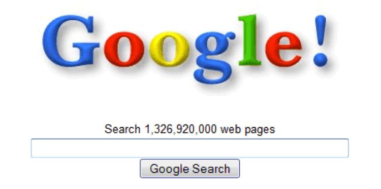 Giao diện trang chủ Google vào những năm 90 của thế kỉ trước.