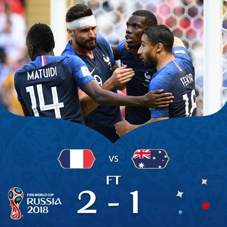 Pháp hạ Úc nhờ 2 bàn thắng được xác định bởi công nghệ. Ảnh: FIFA