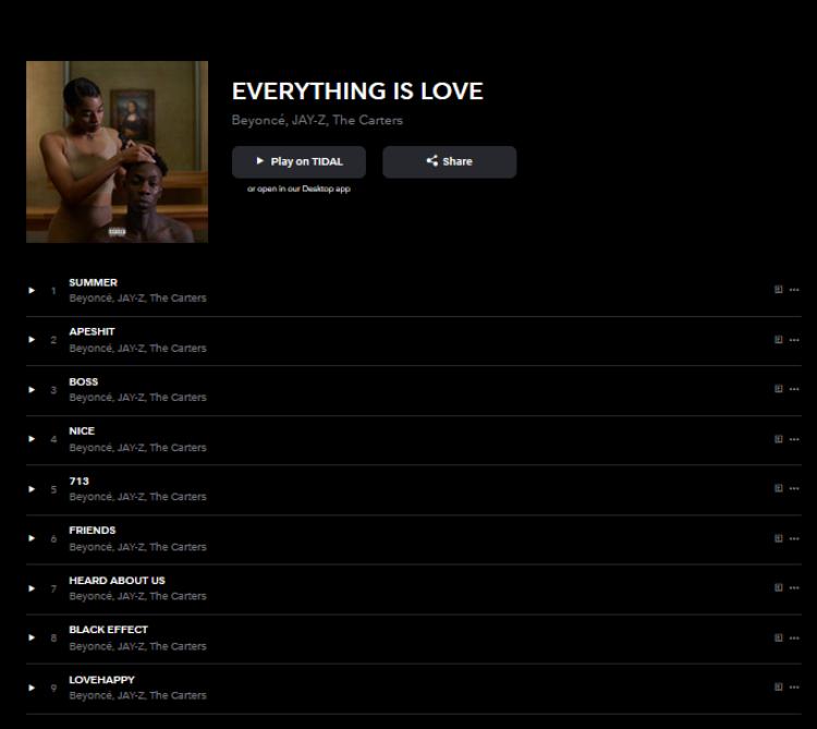 Album đã được ra mắt trên kênh nghe nhạc trực tuyến độc quyền.