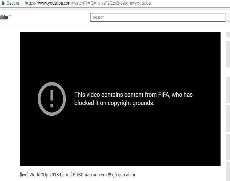 Một kênh YouTube vi phạm bản quyền World Cup 2018 đã bị xóa.