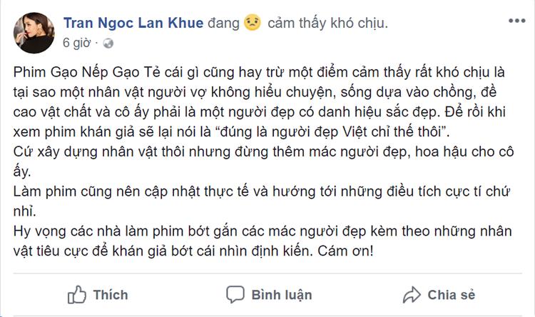 Dù mê phim 'Gạo nếp gạo tẻ, Lan Khuê vẫn cảm thấy khó chịu với tình tiết này