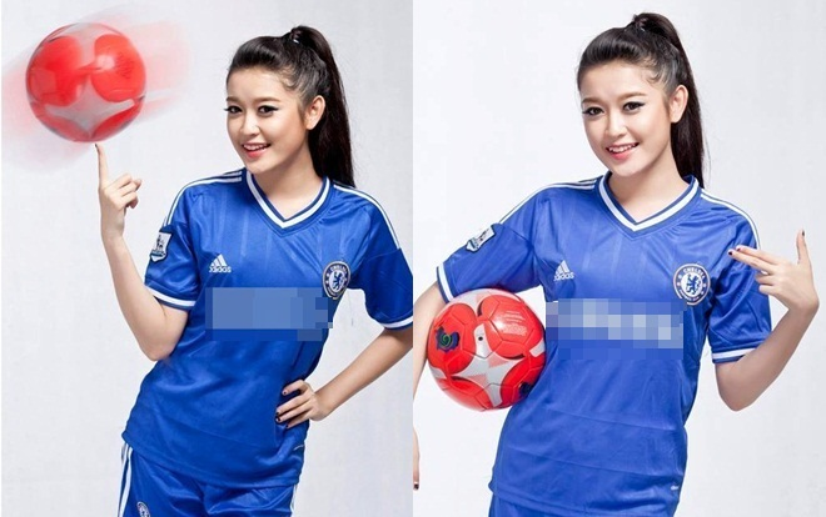 Huyền My rạng rỡ trong màu áo xanh Chelsea.